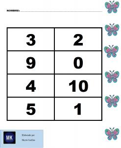 loteria de numeros para niños pdf