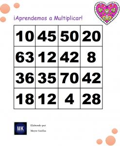 lotería tablas de multiplicar