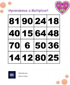 oteria de tablas de multiplicar pdf