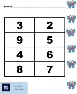 loteria numerica para preescolar