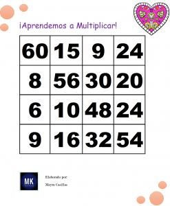 lotería de multiplicaciones pdf