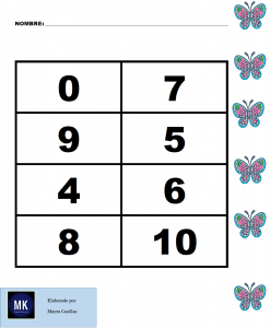 juego de loteria de numeros para niños para imprimir