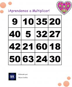 plantillas loteria de tablas de multiplicar del 2 al 9 para imprimir