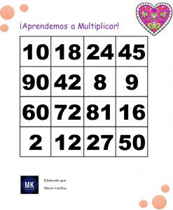 tablas de multiplicar en forma de lotería para imprimir