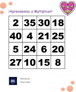 loteria de las tablas de multiplicar para niños
