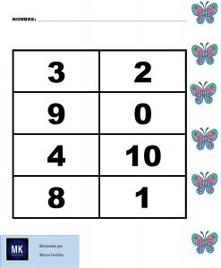 preescolar loteria de numeros del 1 al 10