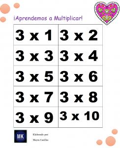 lotería de multiplicaciones para imprimir