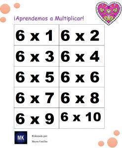 juegos con tablas de multiplicar para imprimir
