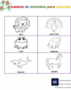 lotería de objetos y animales para imprimir en pdf