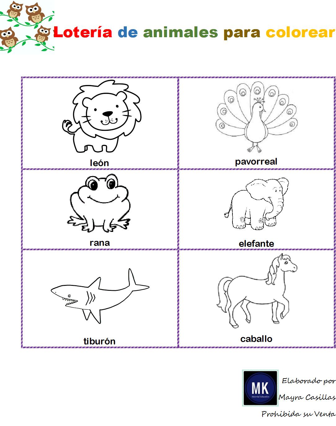 Lotería De Animales Para Imprimir Y Colorear