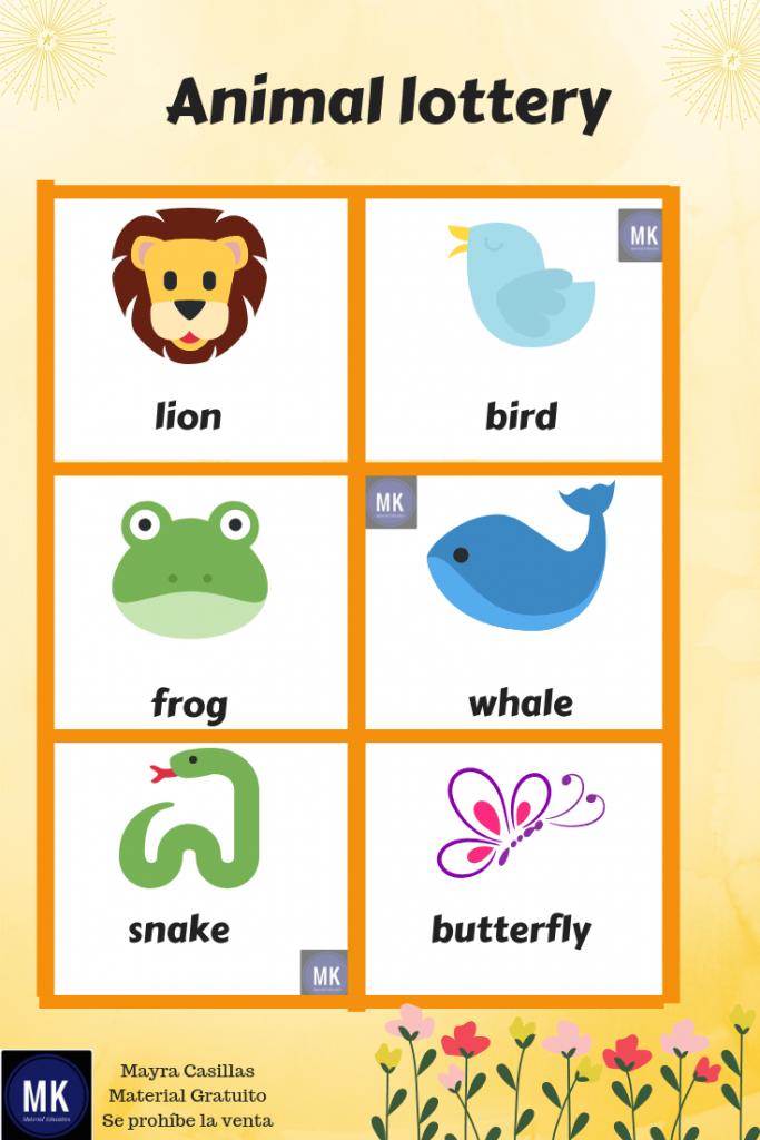 bingo en inglés para imprimir