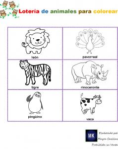 loteria de animales y objetos para imprimir