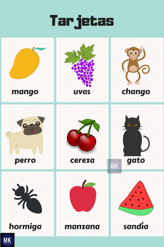 animales con frutas para niños