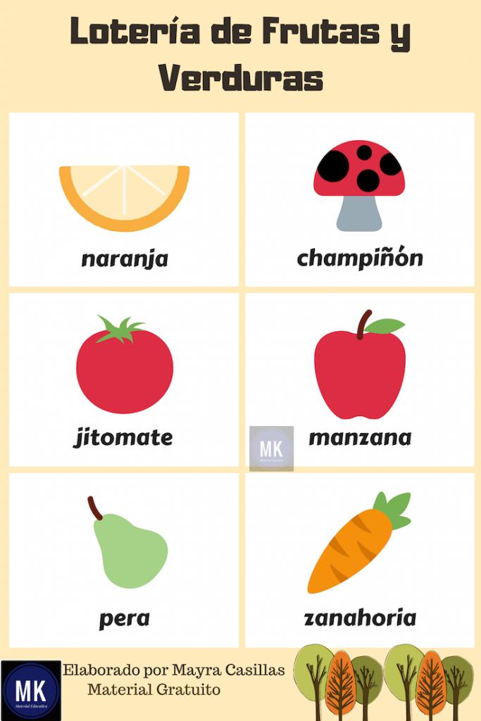 loteria de frutas para imprimir pdf