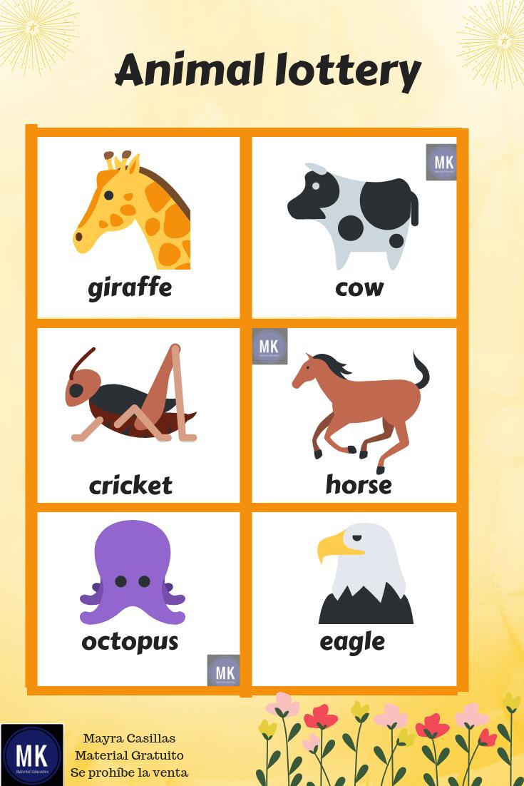 Lotería De Animales En Inglés Para Imprimir Gratis