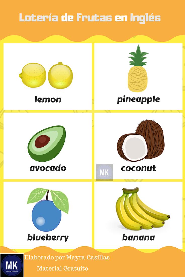 Lotería De Frutas En Inglés A Divertirnos