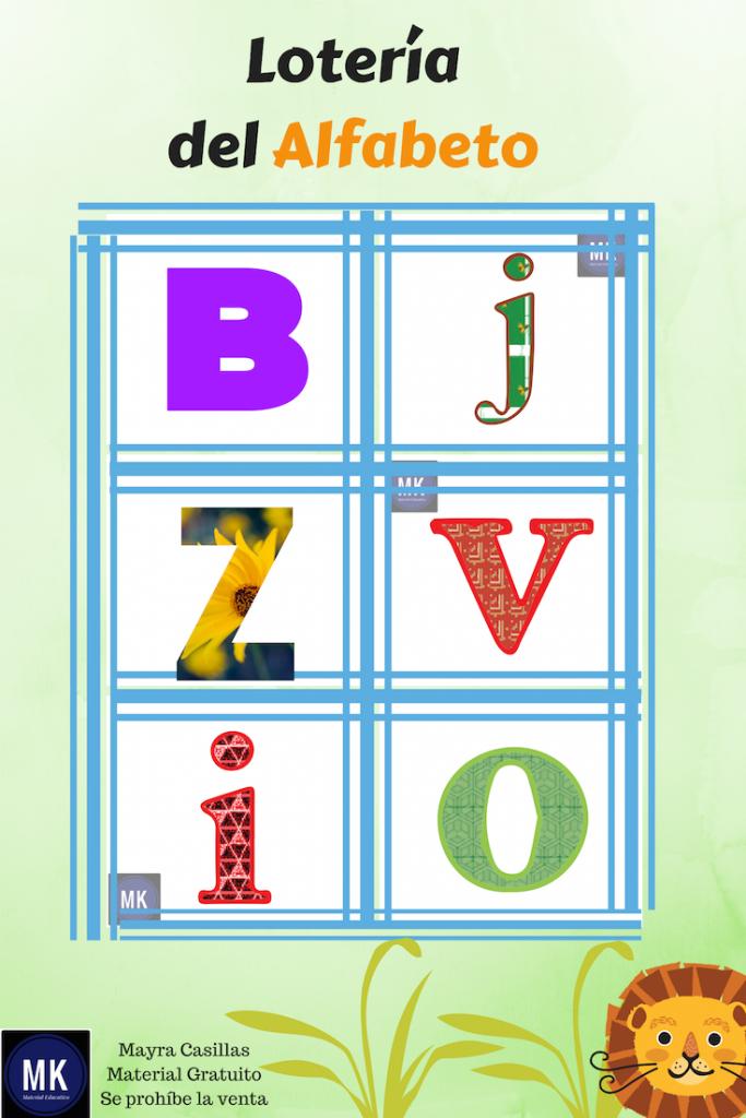cartas de lotería de letras para imprimir