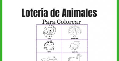 Lotería de animales para colorear