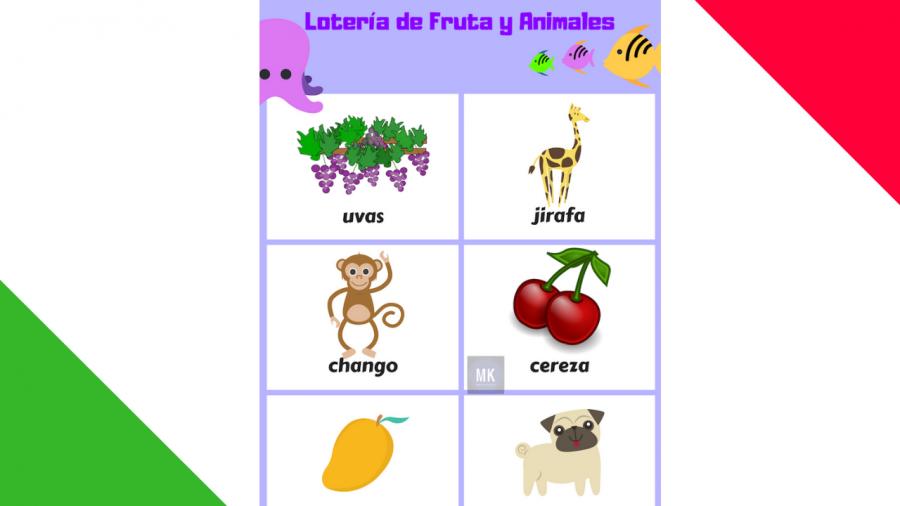 lotería de frutas y animales