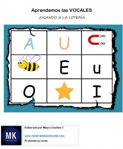 bingo de vocales pdf