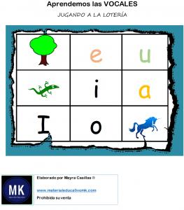 loteria de vocales para niños pdf