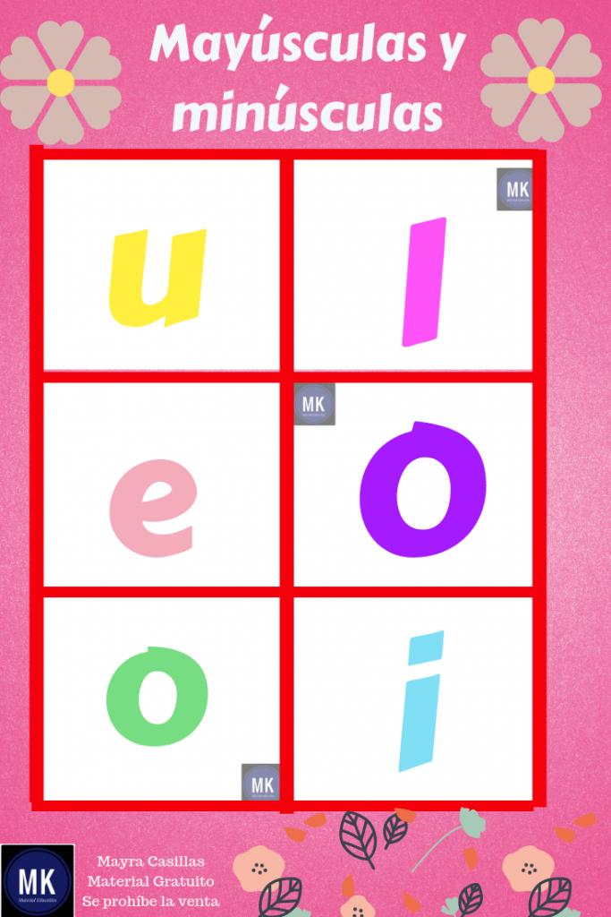 bingo de vocales mayusculas